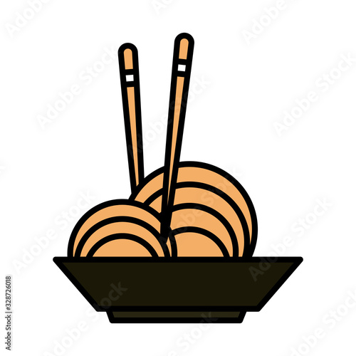Fototapeta sushi oriental menu noodles in bowl with sticks line and fill style icon