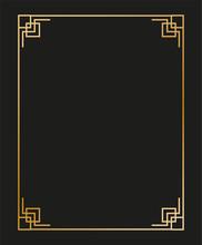 Vintage Linear Thin Line Geometric Shape Art Deco Retro Design Frame Badge