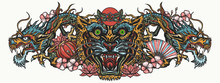 Dragons And Tiger Head. Traditional Asian Concept. Oriental Art. Ancient China And Japan Style. Mythology And Culture. Yakuza Tattoo