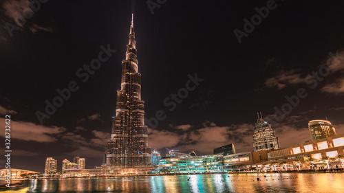 Dubai Arab Emirates city trip, Dubai skyline during vacation summer hot day Canvas Print