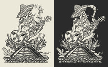 Mariachi Skeleton Wearing Sombrero And Playing Guitar. Mesoamerican Mythology. Mexican Art. Template For Clothes, Covers, Emblems, Stickers, Poster And T-shirt Design