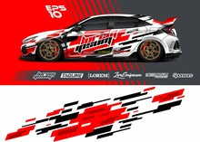 Car Wrap Racing Livery Vector. Abstract Stripe Racing Background For Wrap Race Car, Rally, Drift Car, Cargo Van, Pickup Truck And Adventure Vehicle. Full Vector Eps 10.