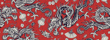 Chinese Dragons Seamless Pattern. Ancient China History And Culture. Flying Snakes, Pink Fan, Red Lantern And Lotus Flowers. Asian Travel Background. Oriental Art