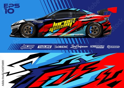 Fototapeta Car wrap racing livery vector. Abstract stripe racing background for wrap race car, rally, drift car, cargo van, pickup truck and adventure vehicle. Full vector Eps 10. obraz
