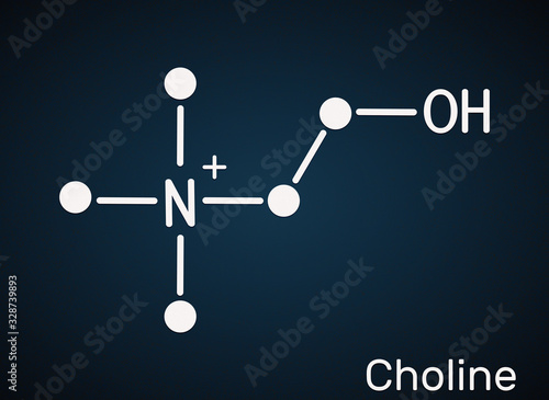 Valokuvatapetti Choline,  C5H14NO+ , vitamin-like essential nutrien molecule
