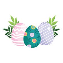 Happy Easter Cute Eggs Paintin...