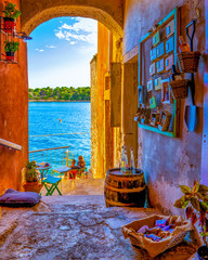 Rovinj Croatia, city village of Rovinj Croatia, colorful town with church and old historical house by the harbor
