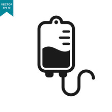 Infuse Icon In Trendy Flat Style, Blood Bag Icon, Iv Bag,intravenous Bag