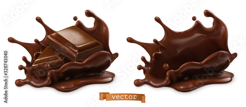 Fototapeta Piece of chocolate and chocolate splash