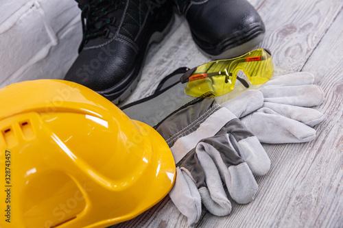 Obraz A protective helmet is necessary on any construction site. - fototapety do salonu