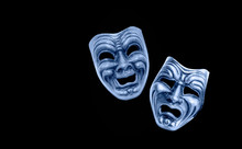 Comedy And Tragedy Theatrical Venetian Mask Isolated Black Background