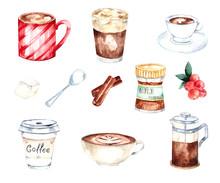 Watercolor Coffee Set With Coffee Mug , Cappuccino, Latte, French Press, Espresso, Spoon, Sugar, Cinnamon.