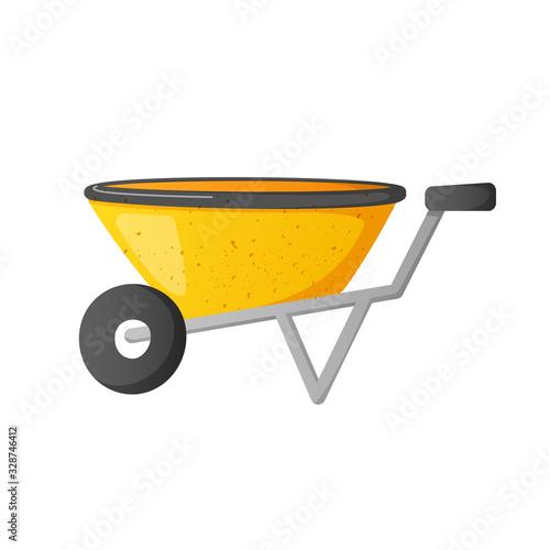 Bright yellow wheel barrow isolated on white. Fototapeta