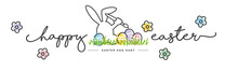 Happy Easter Handwritten Typography Lettering Text Line Design Bunny Artist Colorful Eggs Grass White Greeting Card