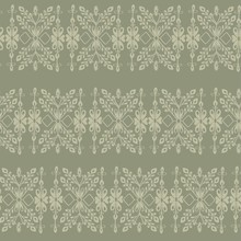 Seamless Pattern With Fantasy Ethnic Flowers, Natural Wallpaper, Floral Decoration, Green Curl Illustration. Paisley Print Hand Drawn Elements. Home Décor.