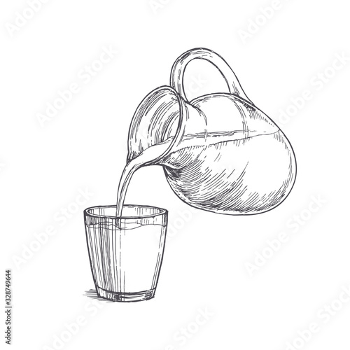 Carta da parati Vector vintage illustration with milk pouring from a jar in glass in engraving style