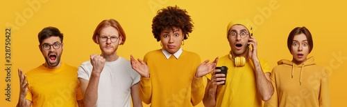 Group of people express negative emotions, man screams with anger, other clenches fist and looks irritated, hesitant Afro American woman shrug shoulders, guy drinks coffee, talks via cell phone