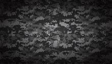 Abstract Military Camouflage Background. Black And White Gray Repeated Seamless Pattern Print