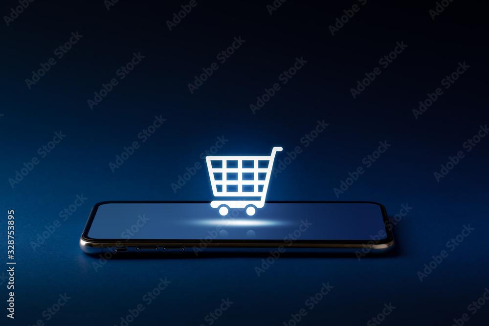 Fototapeta Online shopping icon on smart phone for global concept
