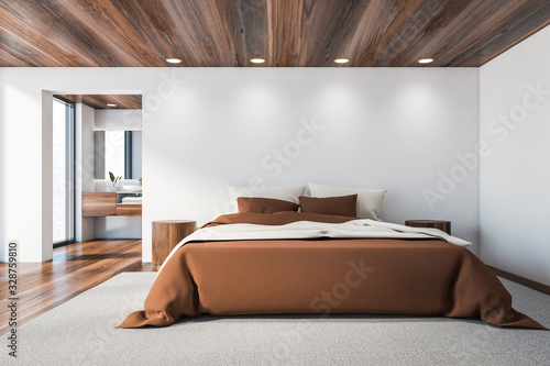 obraz dibond White master bedroom and bathroom, brown bed