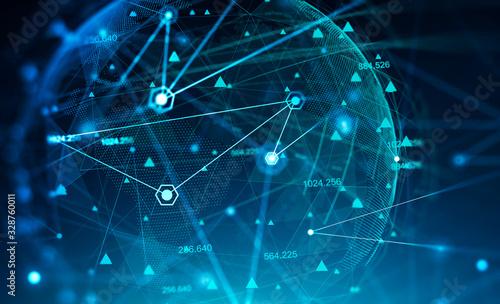 Creative network and world hologram background