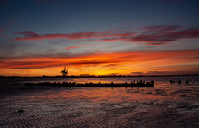 Teeside Sunset With Shipwreck