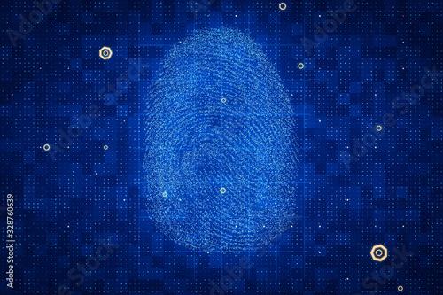 Photo Blue fingerprint, authentication and security