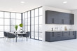 Leinwandbild Motiv Panoramic white kitchen and dining room