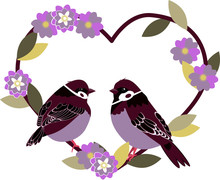Vector Illustration On A White Background. A Pair Of Sparrows Looking At Each Other, Sitting On A Branch In The Shape Of A Heart. Made In A Flat Style.