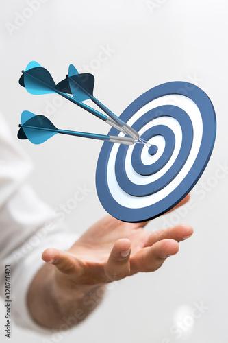 Fotografía arrow hitting in the target center of dartboard on bullseye.