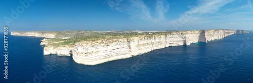 Aerial view of Sanap cliffs. Gozo island, Malta Canvas Print