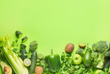 Healthy Products On Color Back...