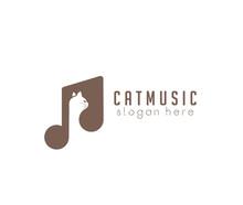 Cat Music Logo Design Head