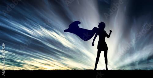 Photo superwoman in action
