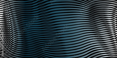 Photo Dark grey blue abstract linear vector background with 3d effect of crumpled curved surface