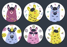 Circle Shape Stickers Set With Cute Llama For Kids. Funny Prints Collection With Alpaca