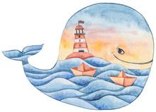 Nautical Watercolor Clipart. C...