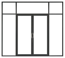 Real Black Modern Aluminium Glass Door Isolated On White Background, Interior Clean Frontstore Window Frame For Shop Design