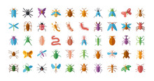 Bugs And Insect Icon Set, Flat...