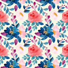 Blue Pink Watercolor Floral Seamless Pattern