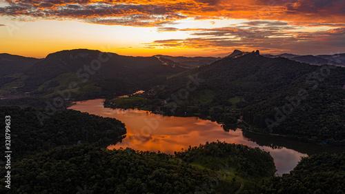Rio dos Cedros lake south brazil Canvas Print