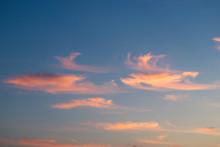 Blue Sky With Orange Clouds On Sunrise