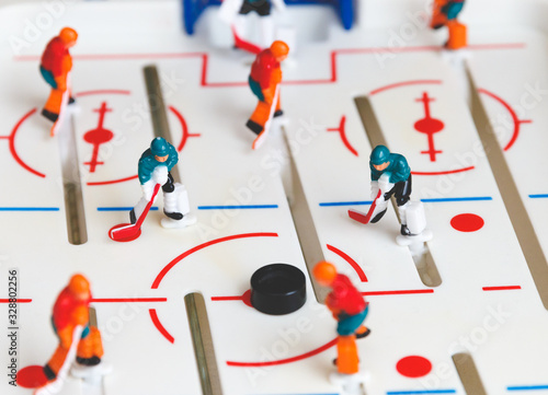 Photo A old fashion manual hockey game for kids macro view.