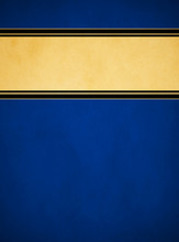 Elegant Rich Blue Parchment. Textured Gold Banner With Black And Gold Trim.