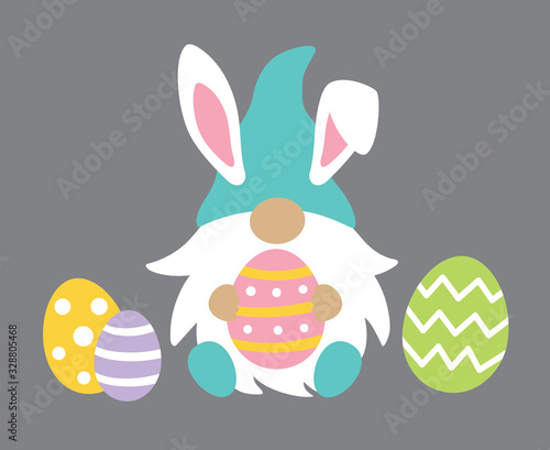 Obraz Vector illustration of cute gnome wearing Easter bunny ears holding Easter egg. - fototapety do salonu