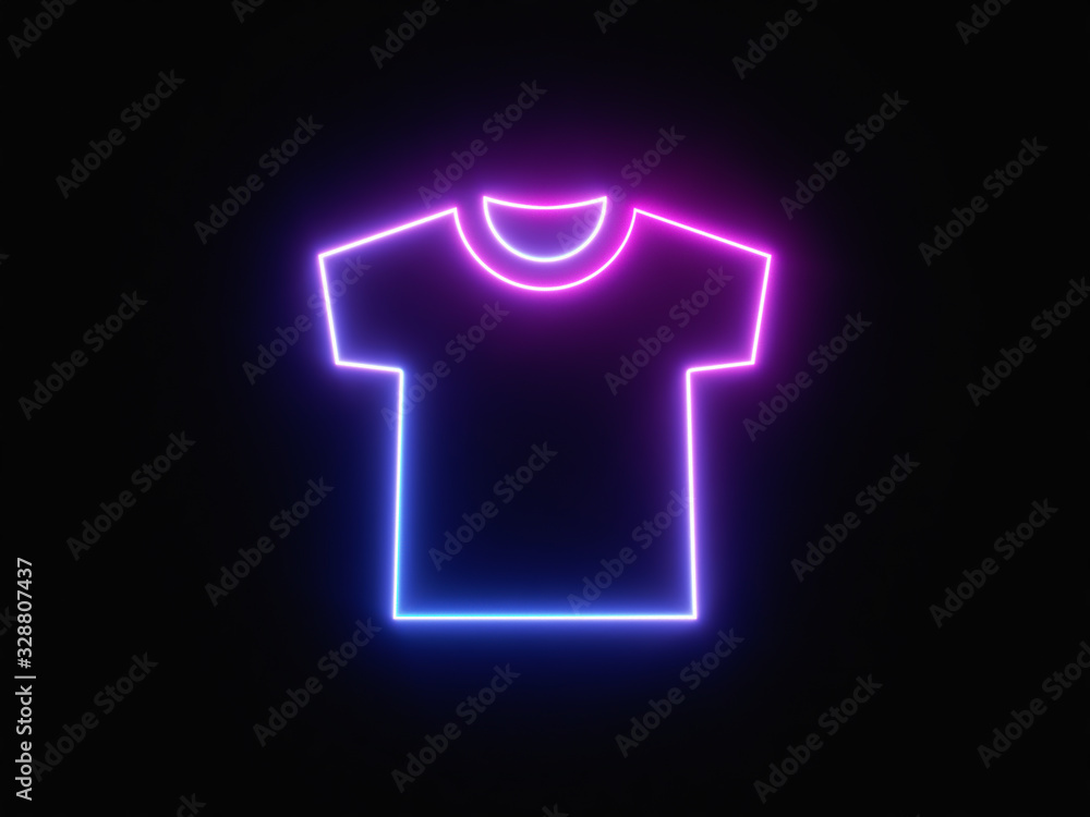 Fototapeta Blue and purple neon light icon isolated in black background. Vibrant colors, laser show. 3d rendering - illustration.