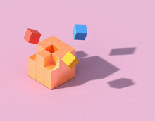 3d Rendering Geometry Cubes Minimal Concept, Pink Color Background For Product Or Perfume