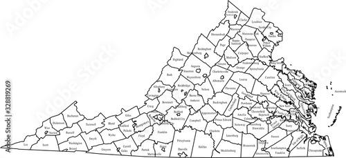 Obraz na płótnie map of Virginia