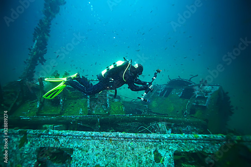 fototapeta na lodówkę shipwreck diving landscape under water, old ship at the bottom, treasure hunt