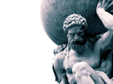 Statue of the Greek God Atlas holding the globe on his shoulders.  With colour toning - 328822415
